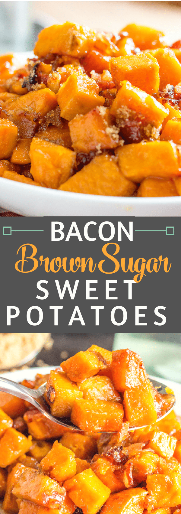 Sweet and tender these Brown Sugar Bacon Roasted Sweet Potatoes are the perfect side dish to your Easter, Thanksgiving or family meal! Quick, easy and addicting. The sweet and salty combine well in these and they will be gone in an instant. #brownsugar #sweetpotatoes #bacon #easyrecipes #easterfood #thanksgivingfood