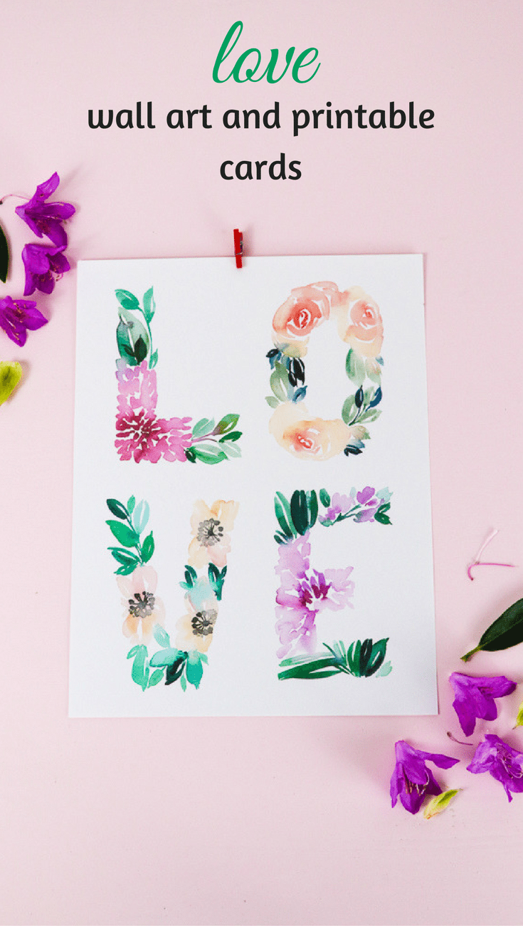 Whether your loves goes into your Valentine or your Nursery Decor, this LOVE print in original watercolor is the SWEETEST! Hand-painted and free to download. #freeprintable #valentines #LOVE #nurserydecor
