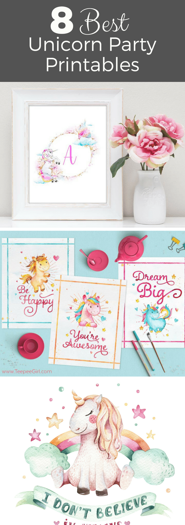 If you're planning a unicorn party, then these free printables are exactly what you need! From cupcake toppers to thank you tags, they are the best of Pinterest! #unicorn #unicornpartyideas printables