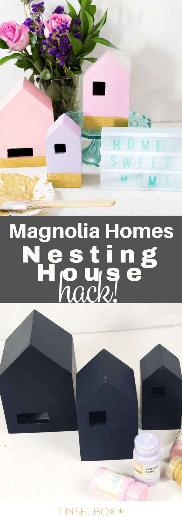 These Magnolia Home decor nesting houses are too fun. We hacked them to be bright and colorful with gold painted trim.  Your home decor will sparkle with this fun DIY project. #magnoliahome #DIY #hack #hearthandhand