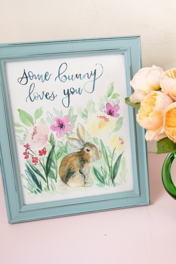 Who do you know who would love this Some Bunny Loves You Print complete with watercolor bunny. It's a free printable for the world to share! Great for #Easter #Nursery #Sprint #freeprintable