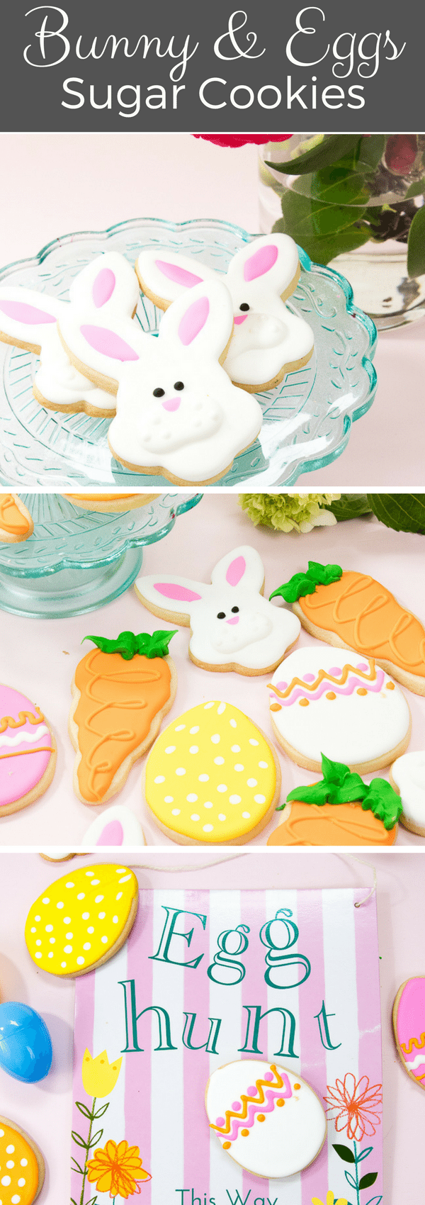 These adorable bunny decorated sugar cookies with eggs & carrots will please your Easter guests. So much fun for a spring party. #decoratedcookies #cookies #recipe #easter