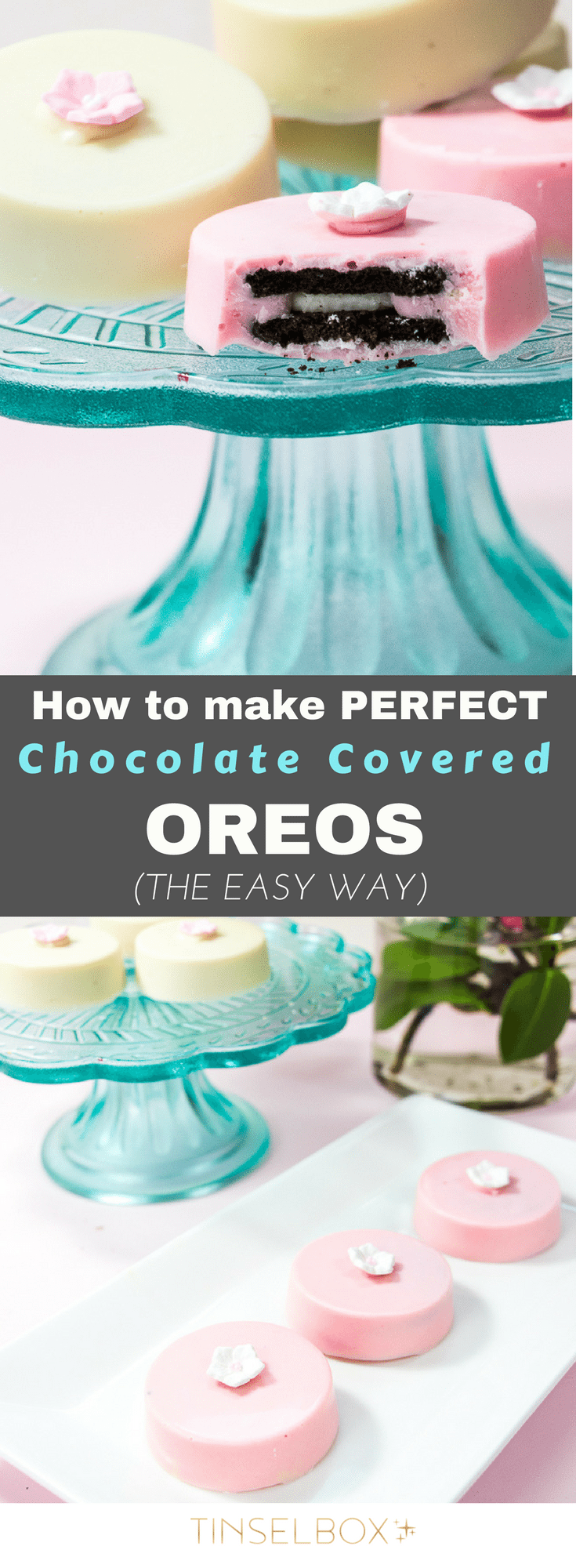 You will obsess over these chocolate covered oreos, I promise you! They have the right amount of crunch inside with silky REAL chocolate outside. This is the only way to make these. Easy and delicious oreo cookies. No bake! #cookies #oreos #nobake #recipe