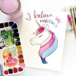 I Believe in Unicorns! Printable Watercolor