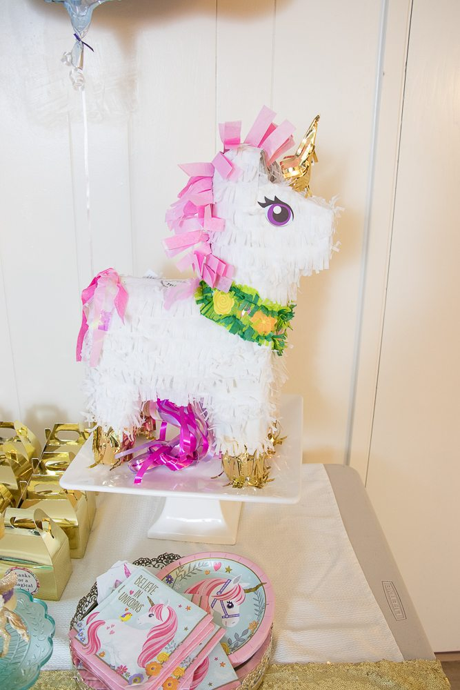 Unicorn pinata for a birthday party