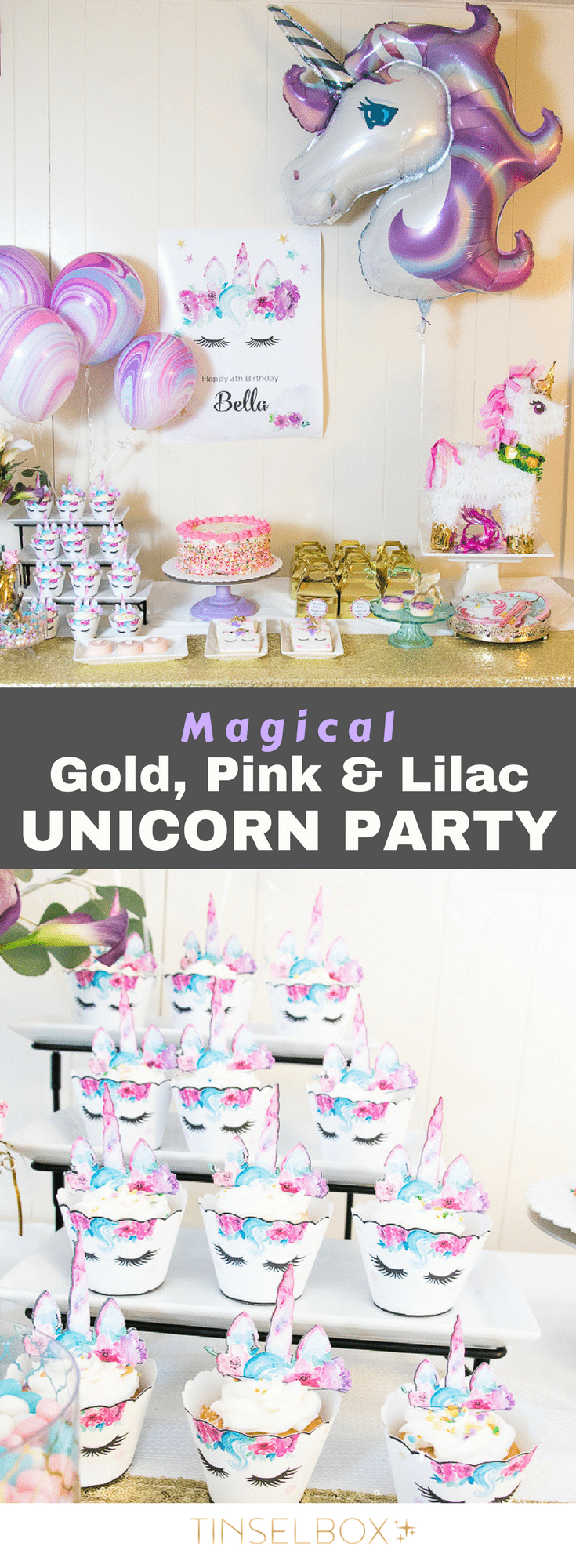 This magical, sparkling Unicorn party in gold, lilac and pink was so darling for my little Isabella's 4th birthday. Join us to see what we created for a dessert table, unicorn party games and printables.  #unicorn #unicornparty #unicorndiy #kidsparty