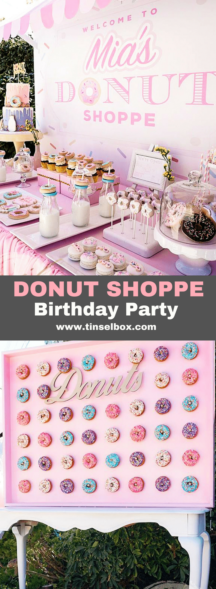 This adorable donut birthday party is filled with sprinkled treats. Find so many great inspirations from desserts to decorations. Including cake, cookies and Rice Krispys shaped like donuts. #donut #kidsparty