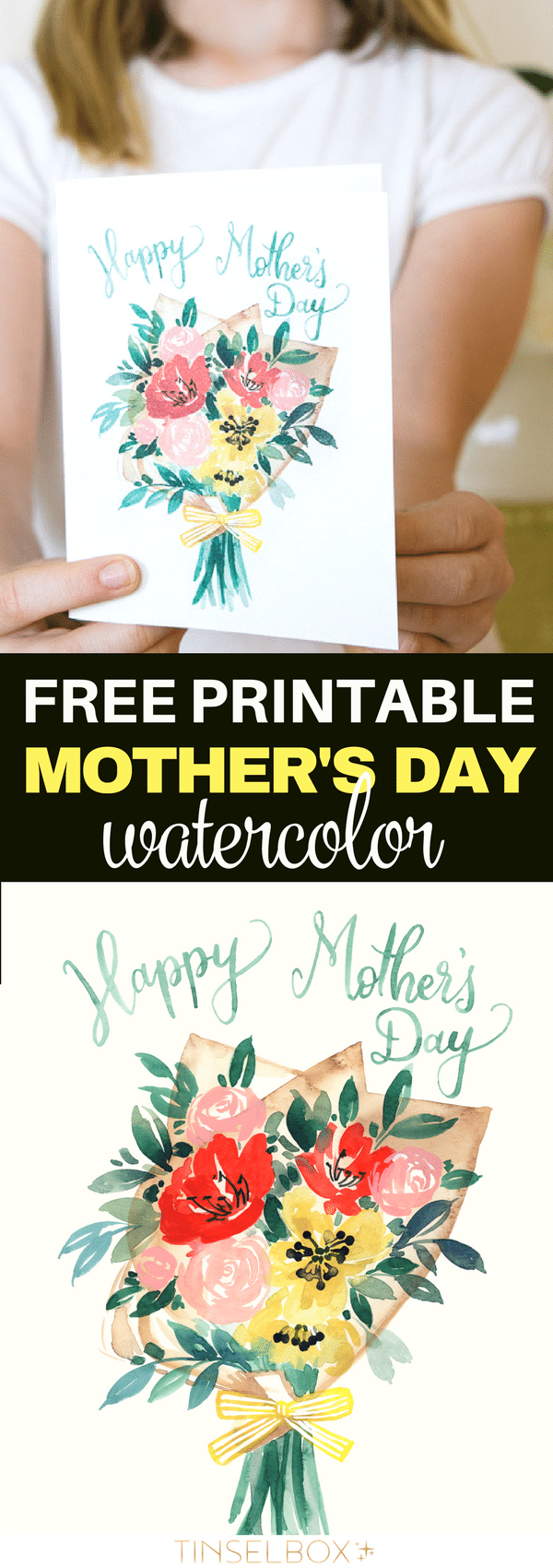 Your mom will LOVE this watercolor Mother's Day Card! It's a free printable set of cards or wall prints. Check out these and other designs. #printable #freeprintable #watercolor #mothersday