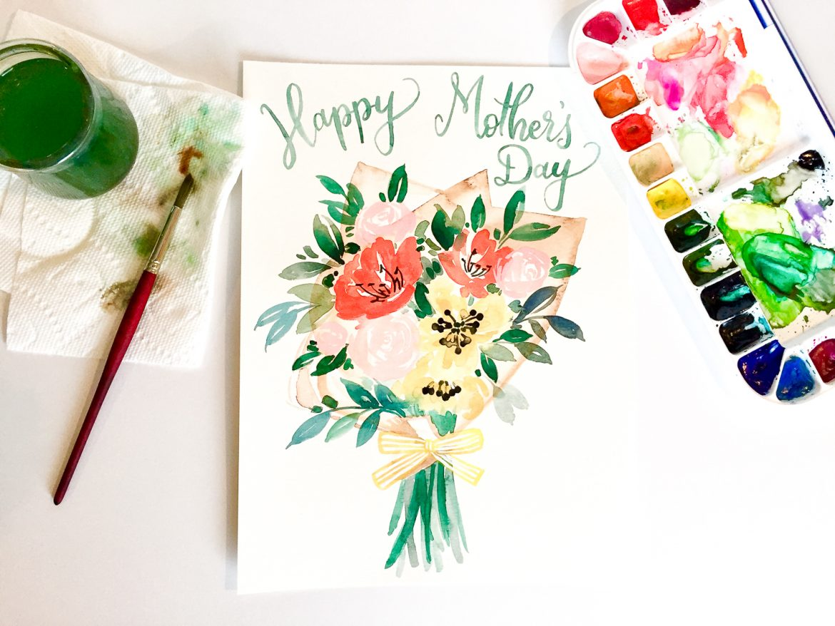 This original watercolor floral free #printablecard (or print) will make your mom fill with joy. Happy Mother's Day.