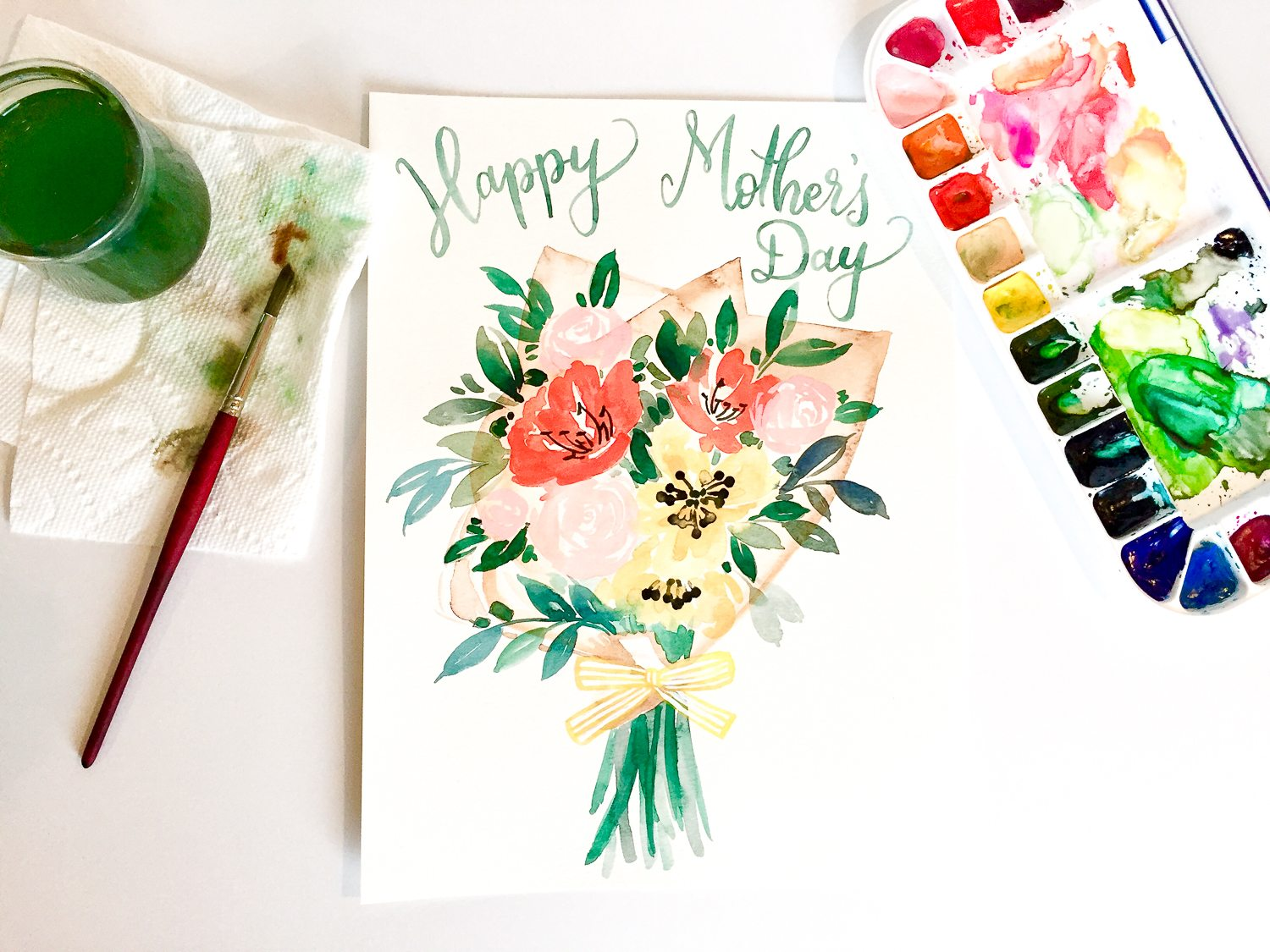 photo relating to Happy Mothers Day Printable Cards known as Satisfied Moms Working day Printable Card inside Floral Watercolor