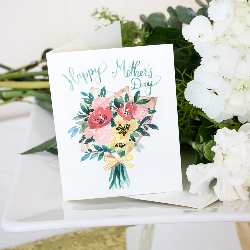 Free printable happy mothers day card in watercolor