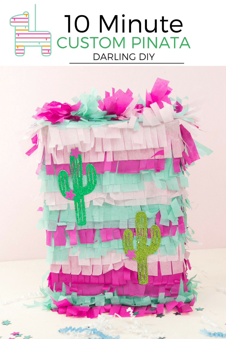 This 10 minute DIY Pinata steals the show! Any theme, any colors, it is quick and easy to make. Use a cut out, print out or even your invitation to coordinate with your birthday party theme. Isn't this cactus so cute! #birthdayparty #pinata #DIY #easydiy