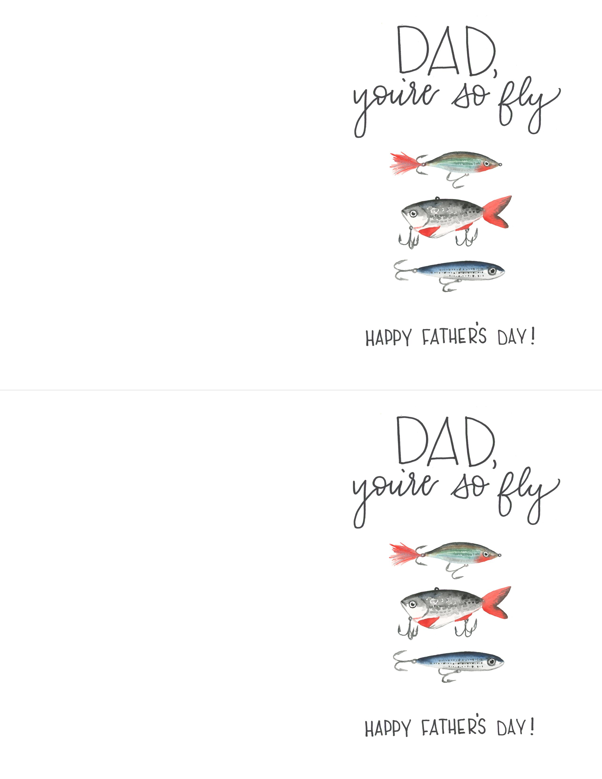 photo about Fathers Day Printable Cards called Fathers Working day Absolutely free Watercolor Fisherman Printable - TINSELBOX