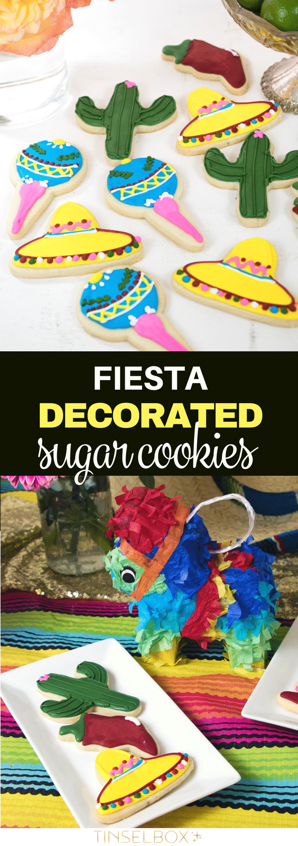 These fiesta inspired decorated sugar cookies are so delicious.  I LOVE mexico themed parties for Cinco De Mayo or just for fun.  Get the cookies and all the party DIY.  #decoratedsugarcookies #fiesta #mexico