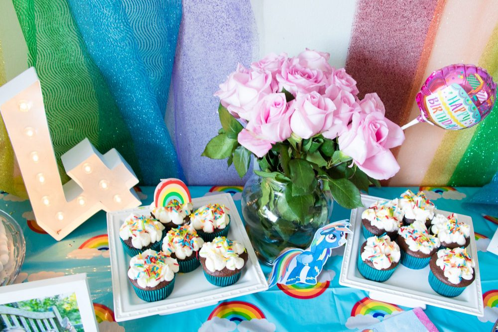 Easy Rainbow Cloud Sprinkle Cupcakes