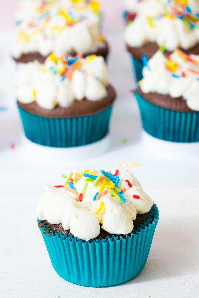 Easy Rainbow Cloud Sprinkle Cupcakes