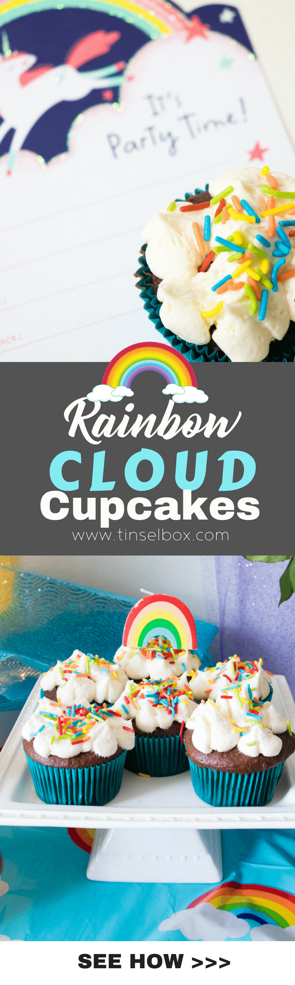 Crazy cute Rainbow Cloud Cupcakes are easy and delicious. Get the tricks to making these white, fluffy, pillowy clouds perfectly every time.  #kidsparty #rainbow #russiantips
