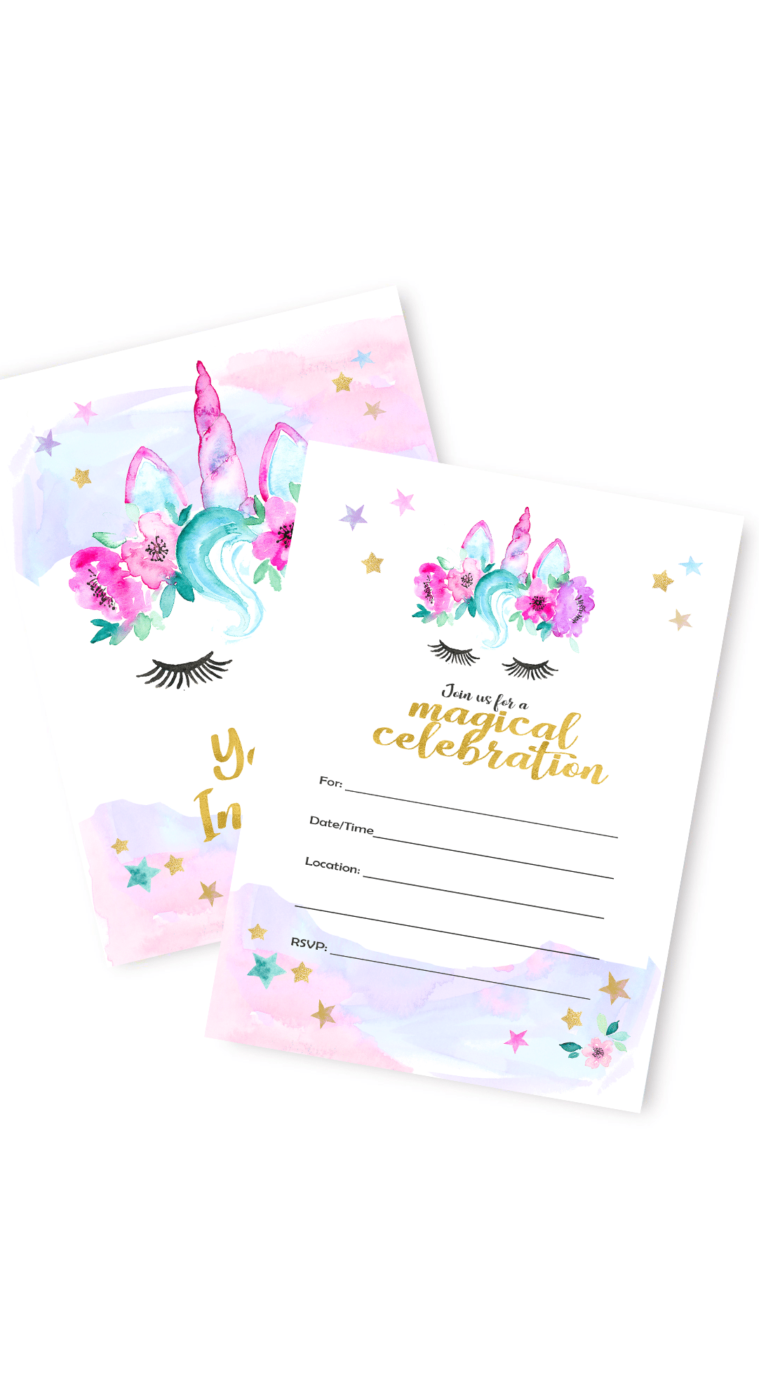 This magical unciorn inviation will be to your door in 2 days. Ready to send to your mystical guest list and fill your birthday party or baby shower guests with joy. #unciornparty #invitations