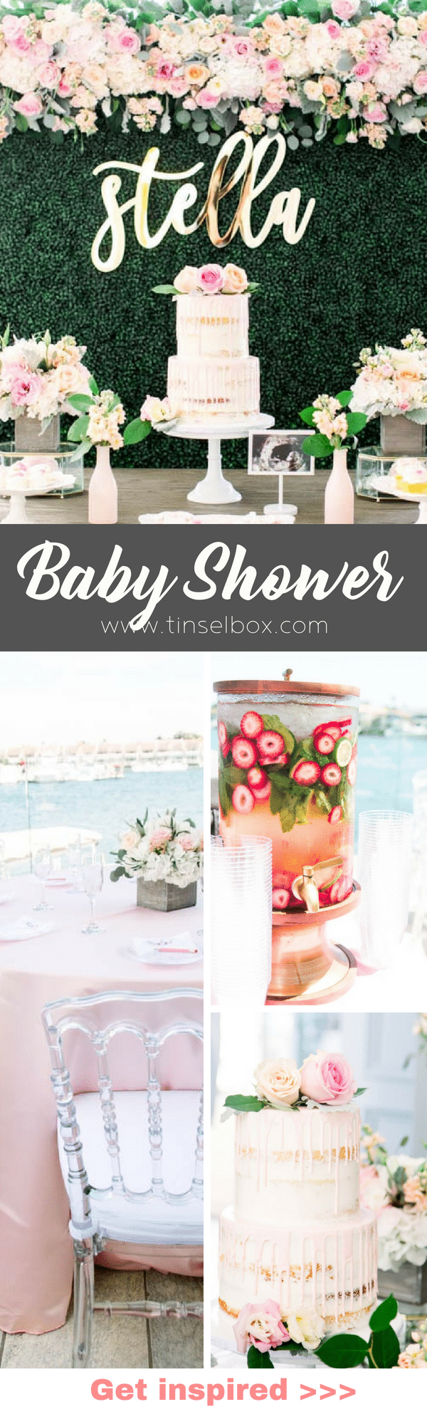 Moms-to-be everywhere will LOVE this gorgeous boho chic baby shower with shades of soft pinks, greens and pops of gold! #babyshower #bohochic