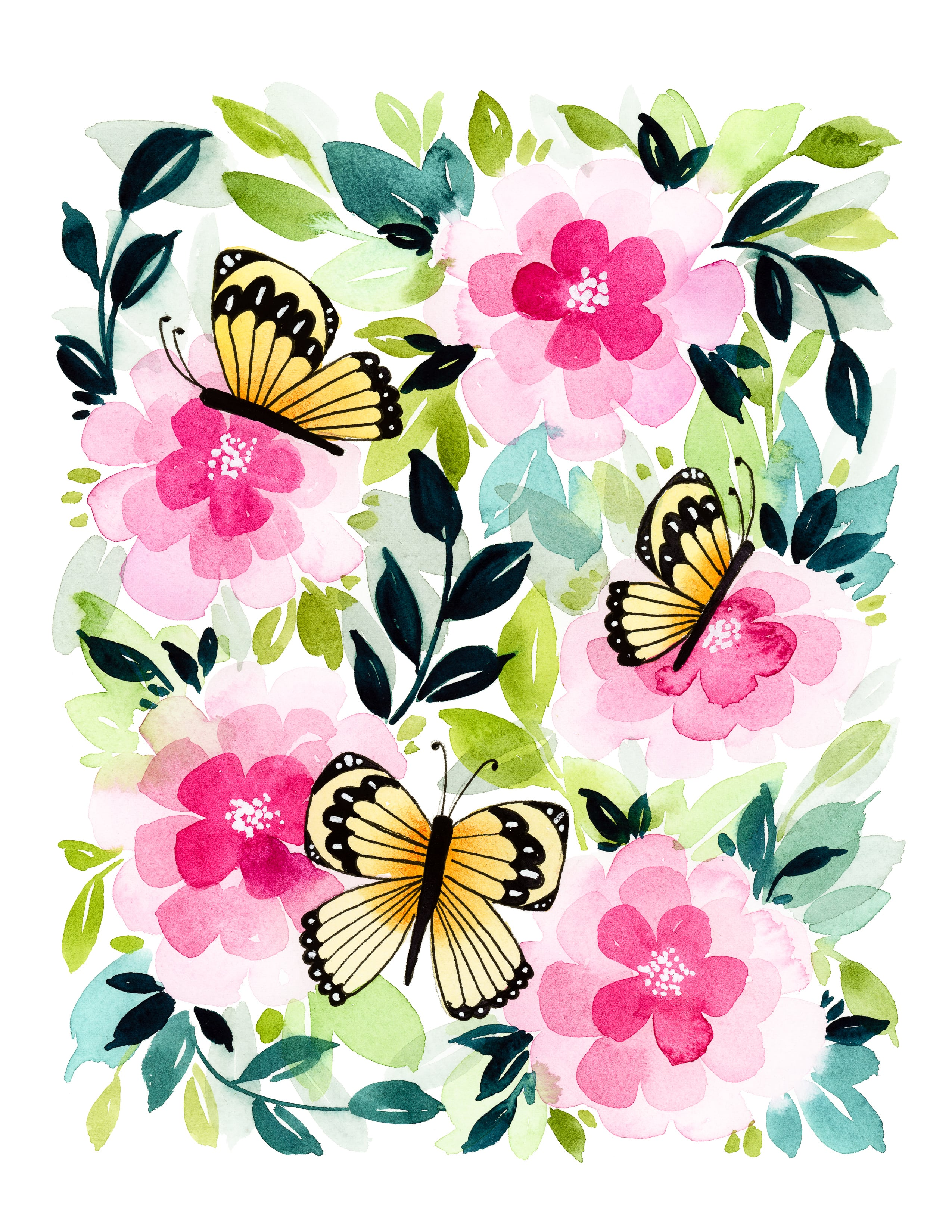 photo regarding Printable Butterfly identified as Butterfly Back garden Free of charge Printable Observe Playing cards in just Watercolors
