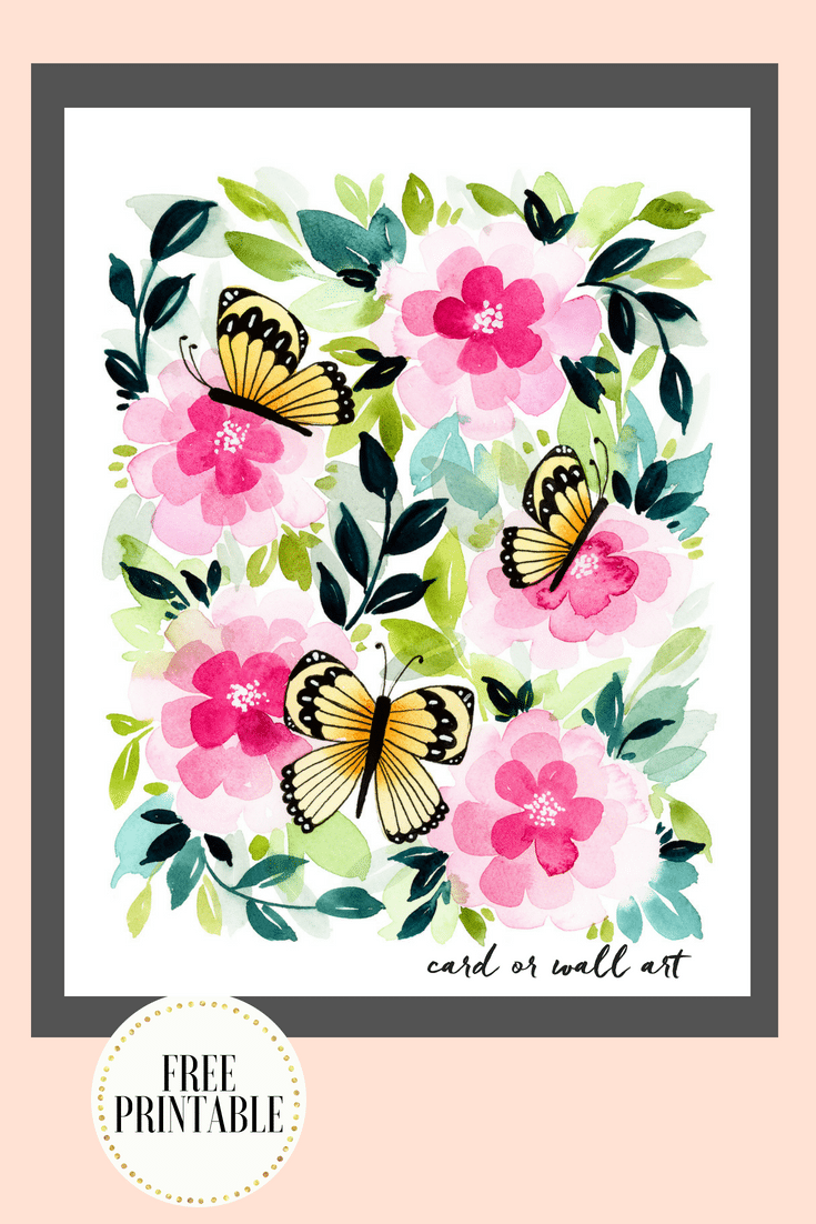 Butterfly Garden Free Printable Note Cards in Watercolors - TINSELBOX