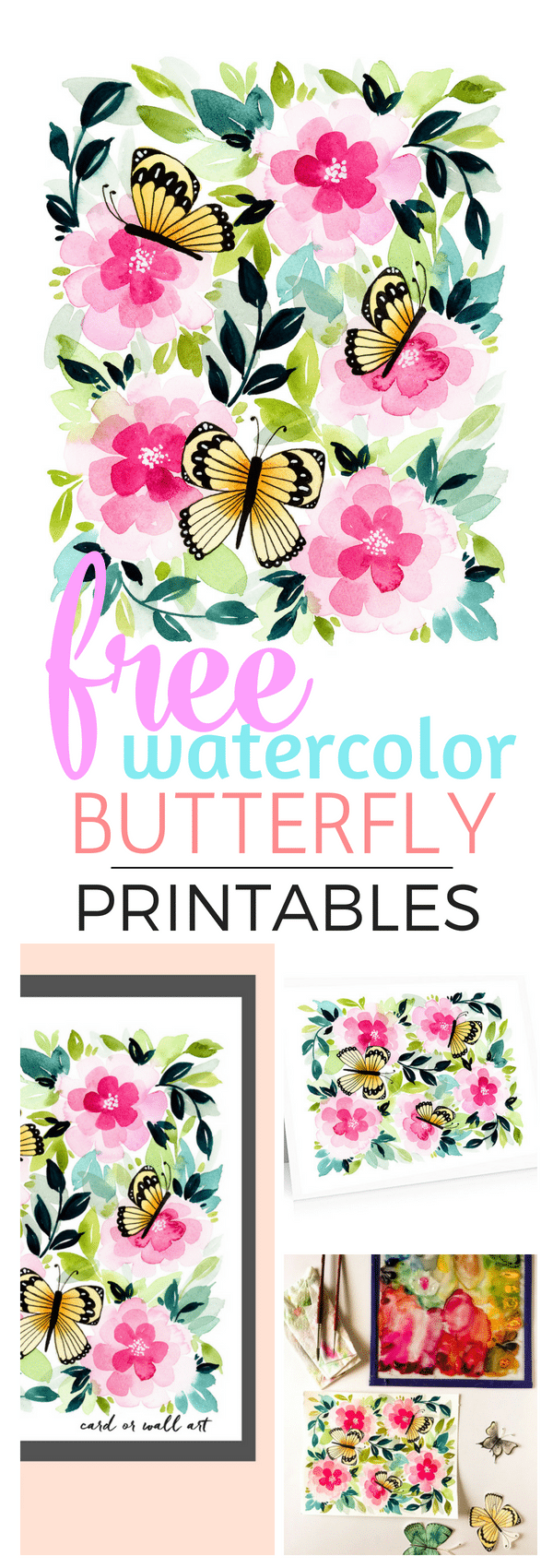 This sweet watercolor is free to print for wall art or note cards!  Suprise someone who loves summer with this thoughtful, high-quality art. #printable #summer #freeprintable #watercolor
