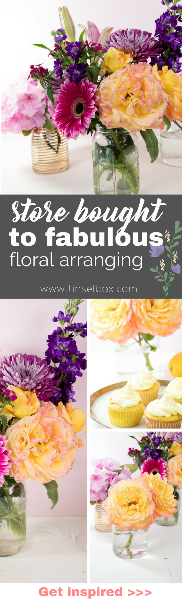 Mixing up store bought flower bouquets to create a modern, semi-pro arrangement on a shoestring budget.  The secret to this DIY is easy! #floral #flowers #diy