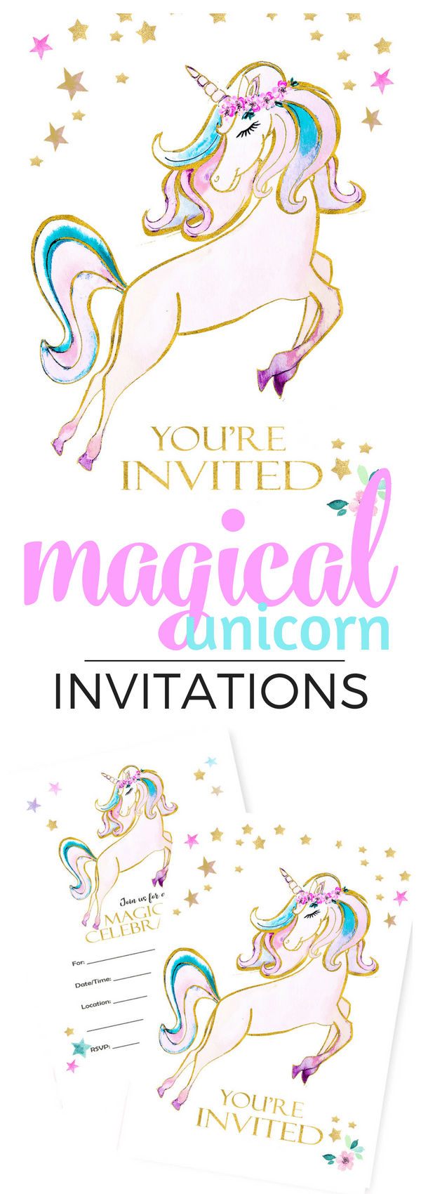 This pretty golden watercolor unicorn inspired the sweetest unicorn party. The brilliant colors create a magical mood. Available on Amazon and Tinselbox.com. Get yours in 2 days!
