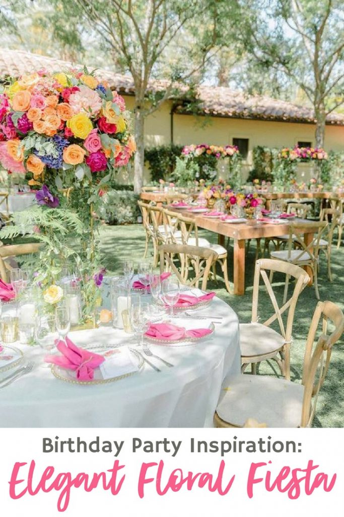 Gorgeous centerpieces, to hanging florals, to arbors decked out in more flowers, this elegant floral fiesta birthday party is full of inspiration!