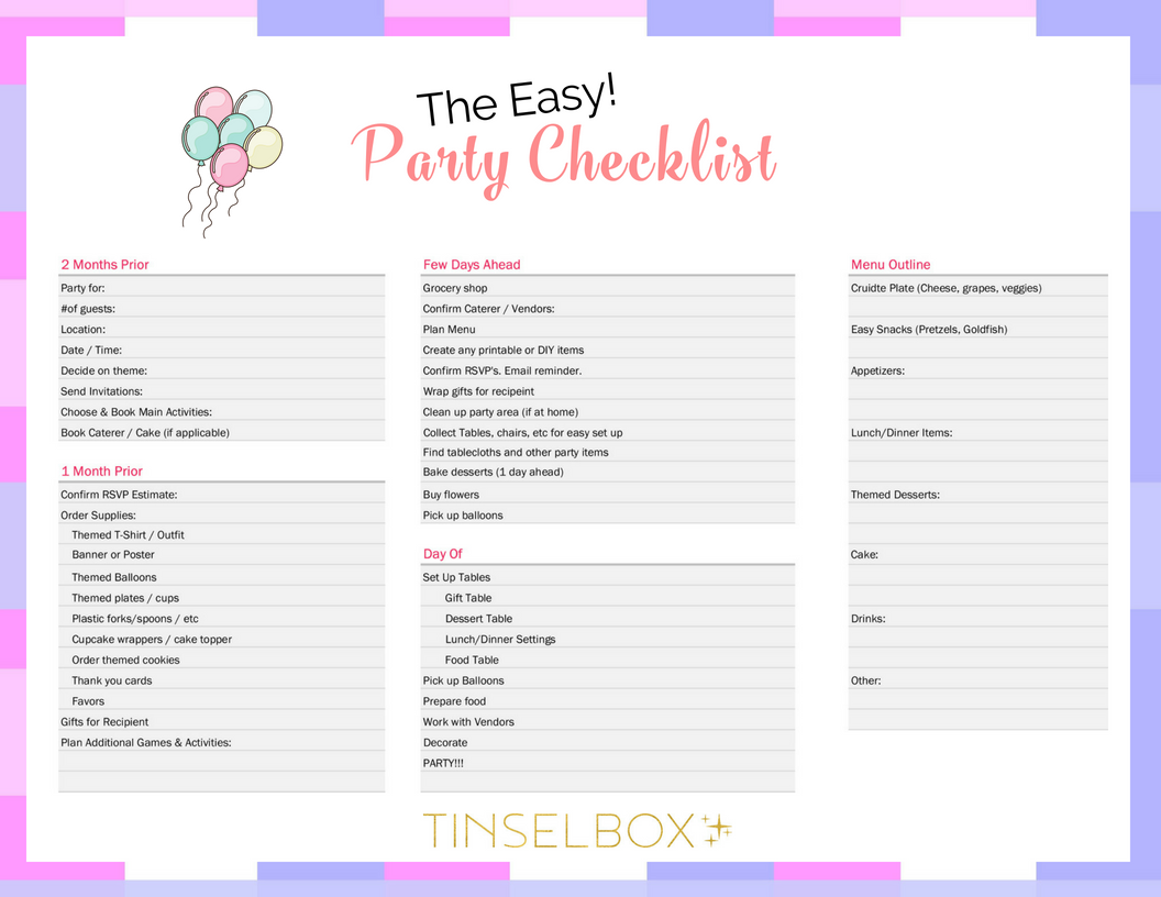 photo about Printable Party Planning Checklist called The Basic Occasion Planner Listing - TINSELBOX