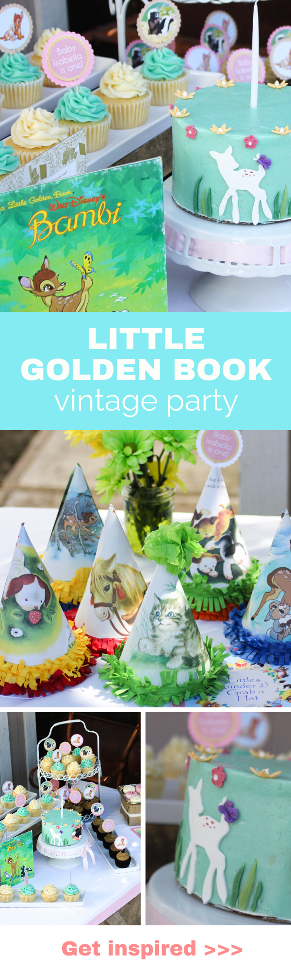 Darling Little Golden Book party. Complete with Bambi and Poki Little Puppy. #kidsbirthdays #littlegoldenbook #vintageparty