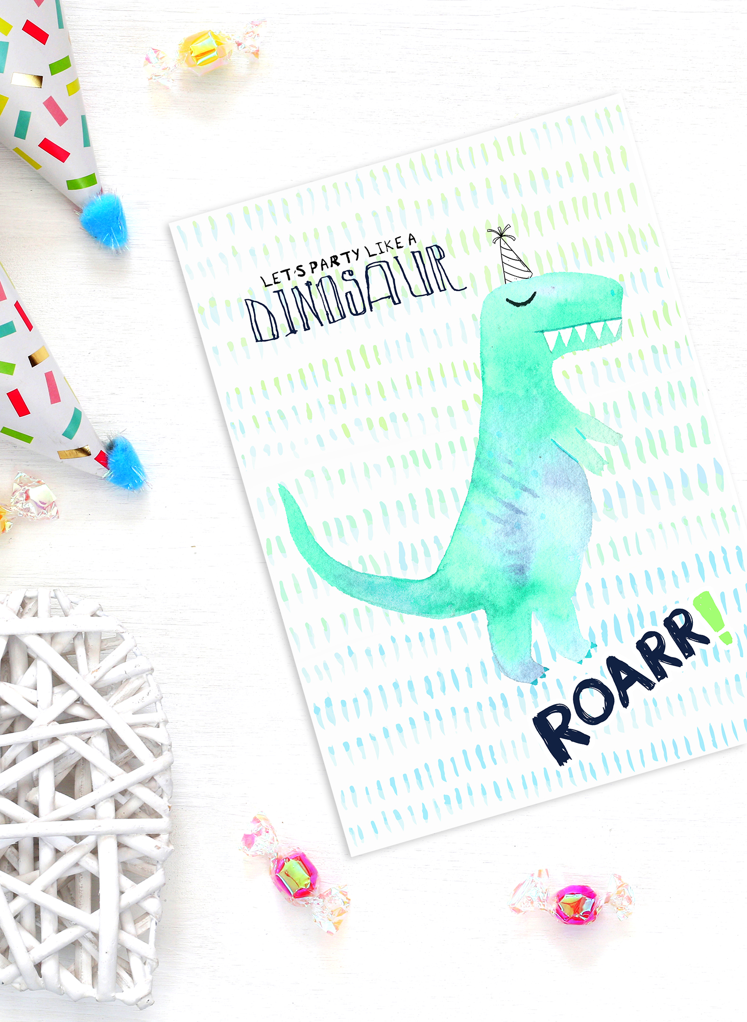 Dinosaur Party Invitations in Watercolor