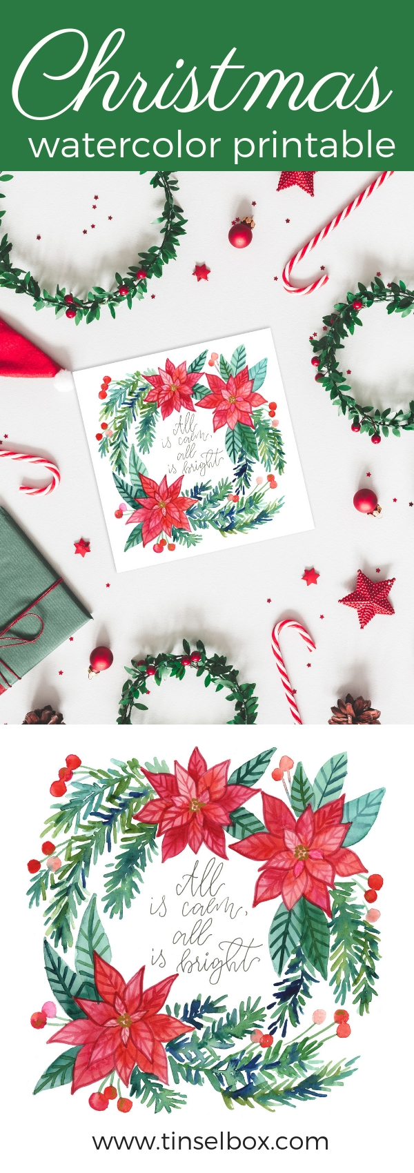 Christmas Watercolor Printable All is Calm All is Bright Free Download