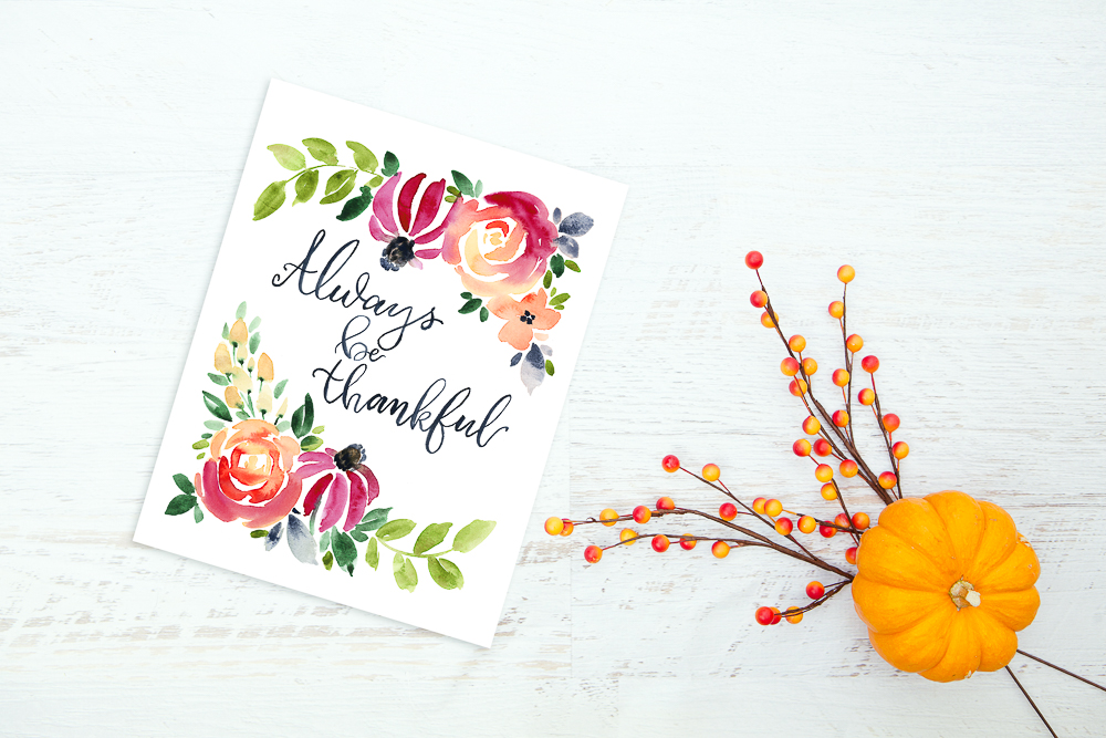 photograph relating to Thankful Printable titled Cute Cost-free Grateful Watercolor Printable - TINSELBOX