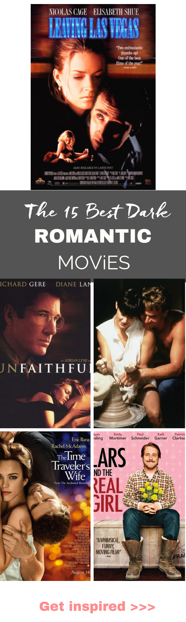 The 15 BEST dark romantic movies of all time.  From Ghost to Leaving Las Vegas to Titanic. Are you in the move for some epic romance movies.  Get the list. #romanticmovies #valentinesday #bestmovies