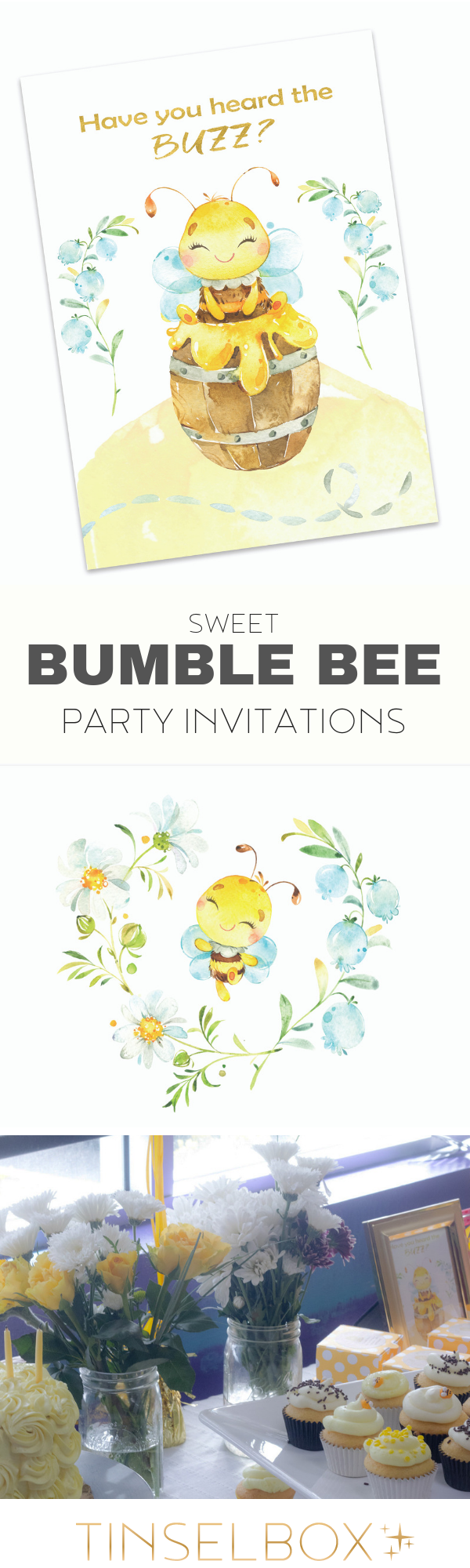 Sweet Bumble Bee Invitations