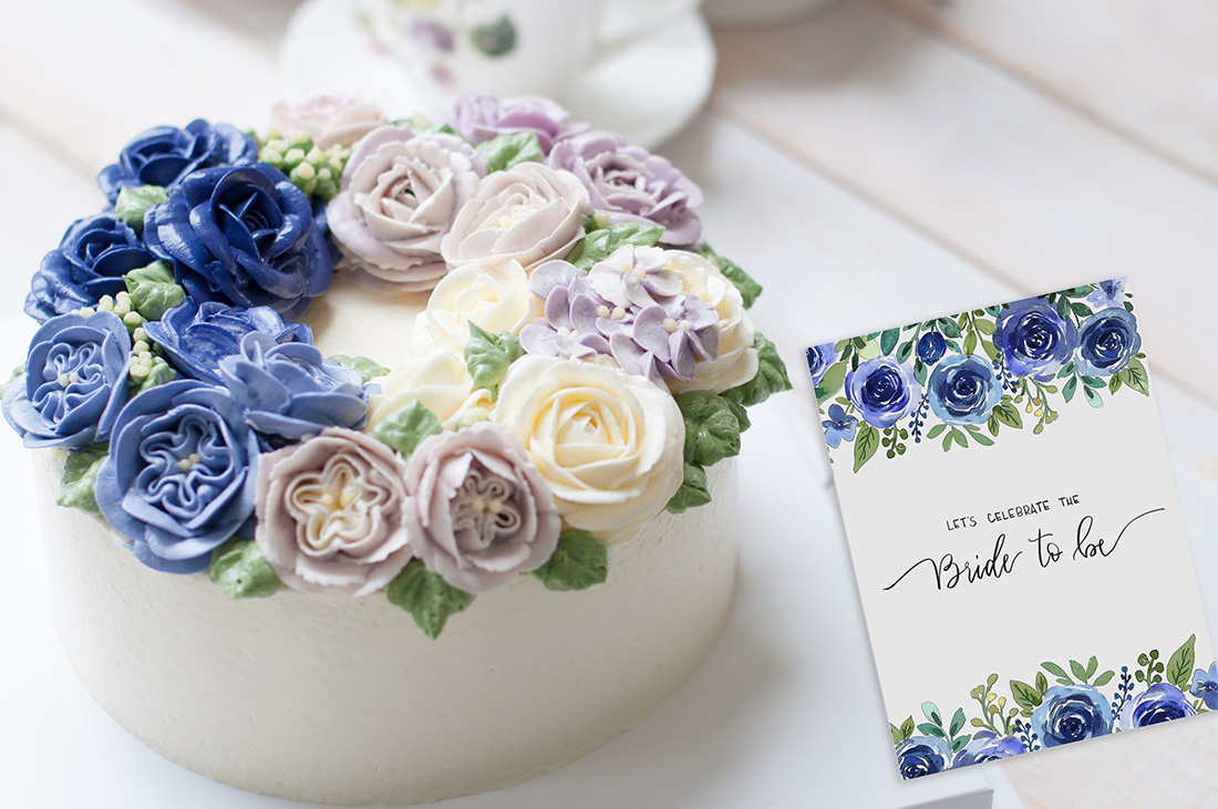 Watercolor Bridal Invitation & Cake