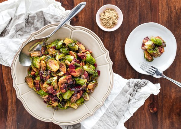 Oven Roasted Brown Sugar Bacon Brussels Sprouts