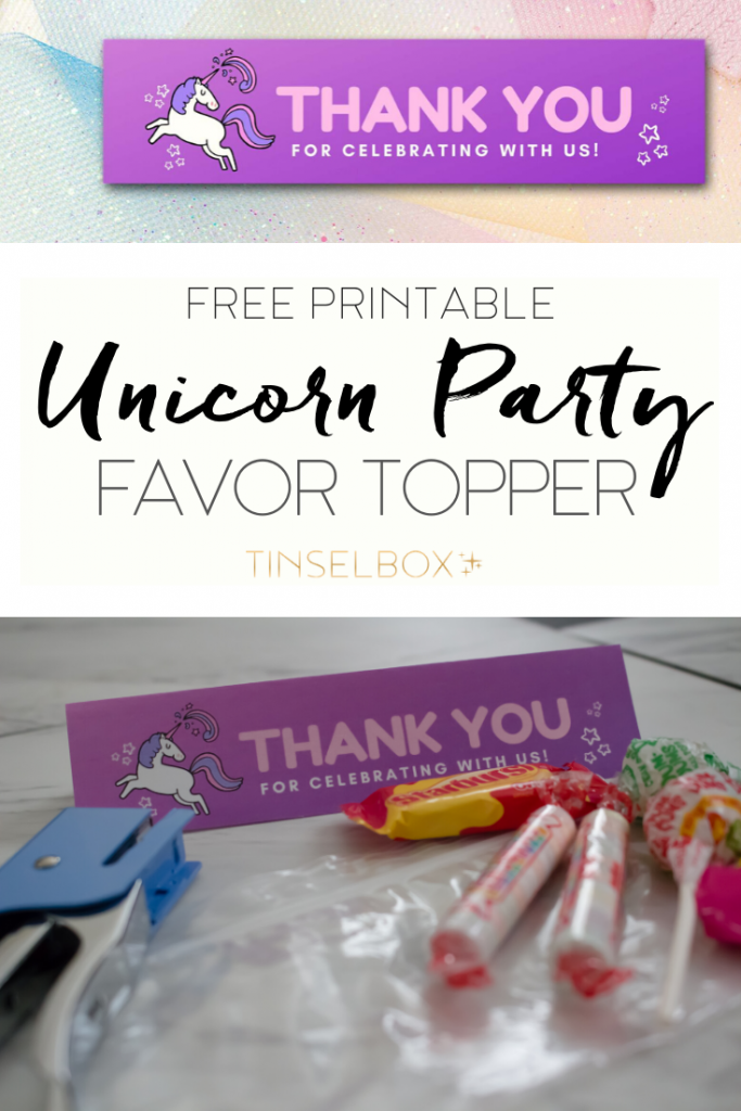 Printable Unicorn Party Favor Topper