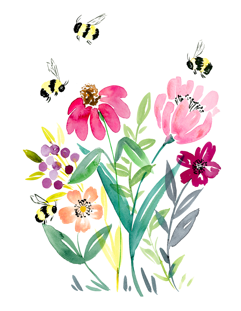 free printable bumble bee watercolor