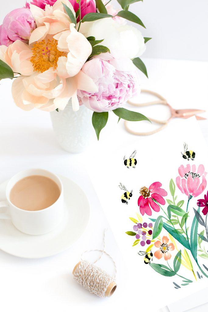 free printable bumble bee watercolor